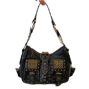 BETSY JOHNSON  METAL LEATHER STUDDED